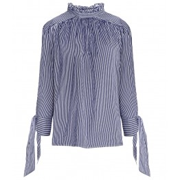 TE8976HRCL Euramerica fashion casual lacing sleeve loose stripes shirt