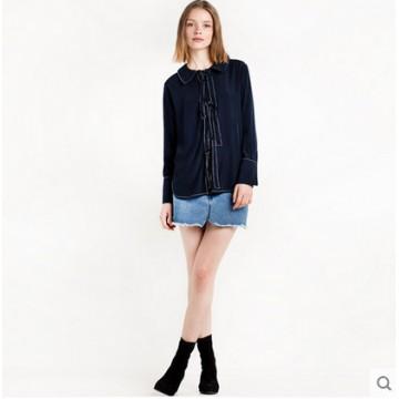 TE8977HRCL Euramerica fashion vintage lacing front loose joker long sleeve shirt