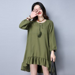 TE9131YZS Spring national style large size lacing flouncing pleat dress