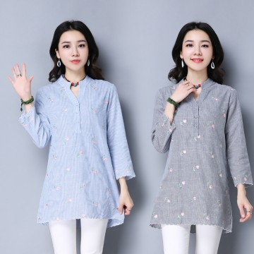 TE9156YZS Fresh style stripes embroidery splicing shirt