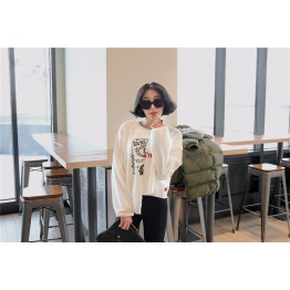 TE1561GJWL Casual fashion loose joker embroidery irregular t-shirt