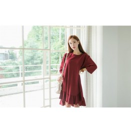 TE1563GJWL Korean fashion loose fashion irregular flouncing hem long t-shirt dress