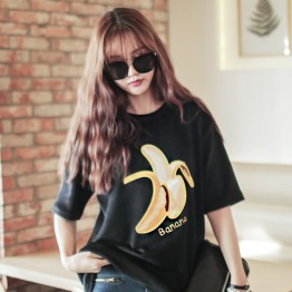 TE1564GJWL Loose comfortable joker banana embroidery silver fox wool large T-shirt