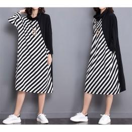 TE1566GJWL Plus size stripes splicing stand collar dress