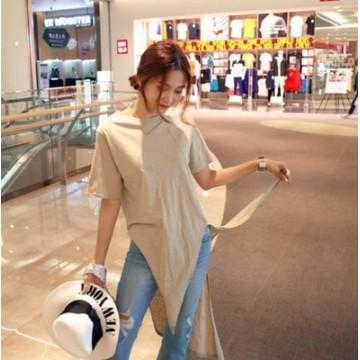 TE1567GJWL Casual fashion irregular joker long t-shirt