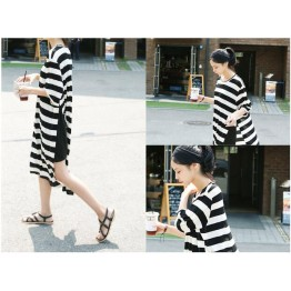 TE1568GJWL Casual fashion slit wide stripes long dress with vest inner two pieces