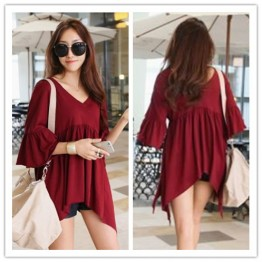 TE1569GJWL Loose fashion v neck backless irregular t-shirt