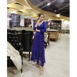 TE5346JMOM Euramerican low-cut paillette formal long dress