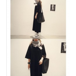 TE6541YZS Large size loose batwing sleeve slit pure color long t-shirt dress