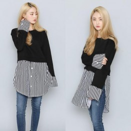 TE6543YZS Large size stripes hem splicing long sleeve shirt
