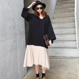 TE6544YZS Large size batwing sleeve splicing contract color flouncing v neck dress