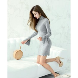 TE6545YZS Pure color soft long sleeve knitting agaric edge dres
