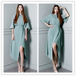 TE1685GJWL Spring fashion batwing sleeve tops with irregular skirt