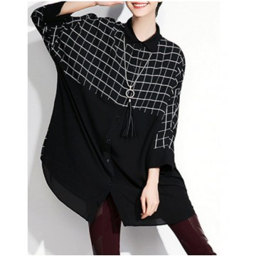 TE1686GJWL Loose fashion splicing wide checked irregular shirt
