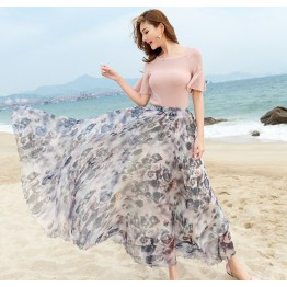 TE2151LY Print bohemia wide hem chiffon beach skirt