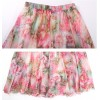 TE2157LY Print bohemia wide hem chiffon beach skirt