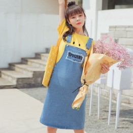 TE6670WRZS New style rough edge letters embroidery denim suspender skirt