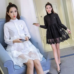 TE6961LLWL Spring fashion bowknot embroidery mesh splicing long sleeve dress