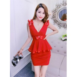 TE9118MRY Cub sexy deep v neck slim waist tight hip dress