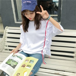 TE9357HLL Korean fashion flouncing loose round neck half sleeve t-shirt