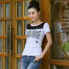 TE0816WSSP Fashion lace splicing embroidery short sleeve T-shirt