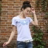 TE0819WSSP Fashion mesh splicing embroidery short sleeve T-shirt