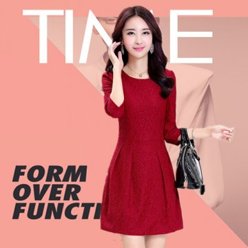 TE1062AKFS OL simple round neck temperament lace fashion dress