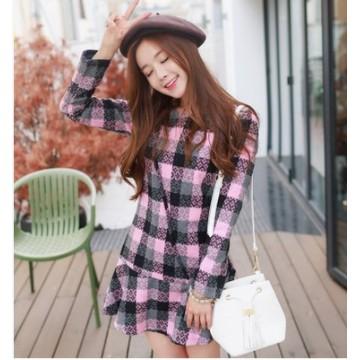 TE1065AKFS Korean fashion checks flouncing woolen dress