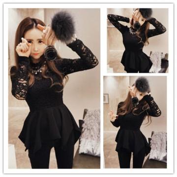 TE1090GJ Europe fashion lace splicing irregular dress