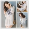 TE1394GJ Japanese fashion casual v-neck embroidery long shirt