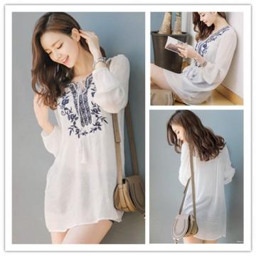 TE1394GJ Japanese fashion casual v-neck embroidery long shirt