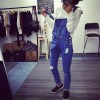 TE1113DXE Preppy style wear out loose denim overalls