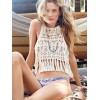 TE1162PP Europe fashion sexy hollow out crochet bikini tassel overall