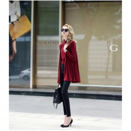 TE1428GJ Europe fashion casual turtleneck vest and loose cardigan two pieces