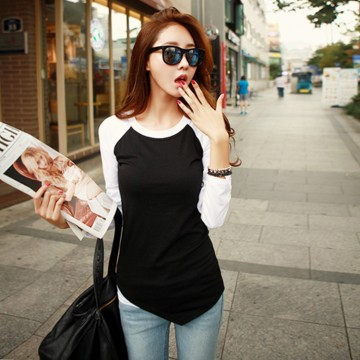 TE1225BNYR Autumn color matching round neck irregular T-shirt