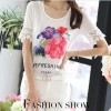 TE1520WSSP Fashion print lace splicing short sleeve chiffon shirt