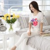 TE1520WSSP Fashion print lace splicing short sleeve chiffon shirt