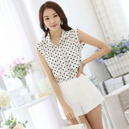 TE1521WSSP Fashion dot doll collar sleeveless chiffon shirt