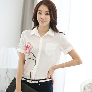 TE1523WSSP Korean fashion OL temperament print chiffon shirt
