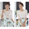 TE1525WSSP New style lace jacquard chiffon splicing puff sleeve tops