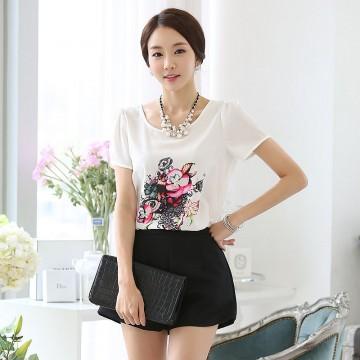 TE1526WSSP Korean fashion flowers print short sleeve chiffon shirt