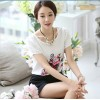 TE1526WSSP Korean fashion flowers print short sleeve chiffon shirt