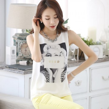 TE1530WSSP Korean fashion print sleeveless chiffon tops
