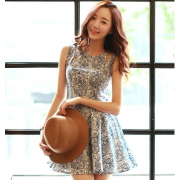TE5905DDJP Blue and white porcelain pattern sleeveless beach dress
