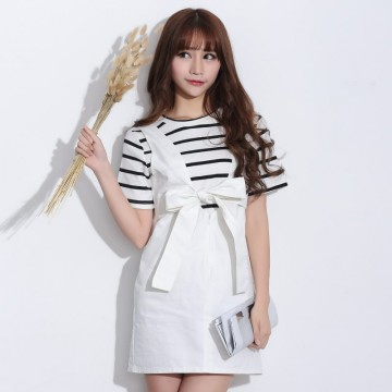 TE2104HM Korean style bowknot two way wear suspender dress