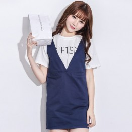 TE2104HM Korean style bowknot two way wear suspender dress