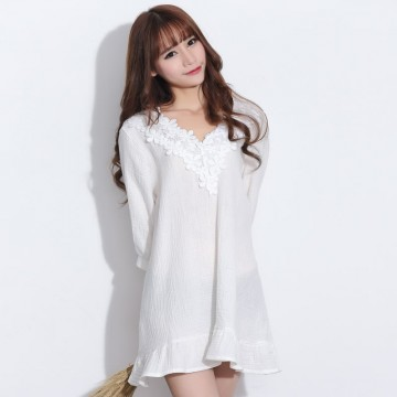 TE2123HM Korean fashion lace v-neck fresh dress