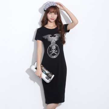 TE2145HM Korean fashion print slim long cotton dress