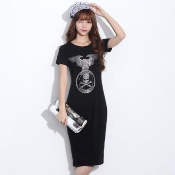 TE2145HM Korean fashion print slim long cotton dress