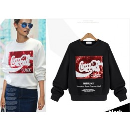 TE2313XYD Europe fashion personality sequins long sleeve sweatshirt